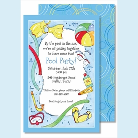 Swimming Pool Large Flat Invitation - click to enlarge