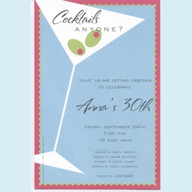 Tipsy Martini Invitation - click to enlarge