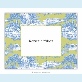 Toile Blue & Green Folded Notes (set/25) - click to enlarge