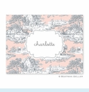 Toile Gray & Blush Folded Notes (set/25)