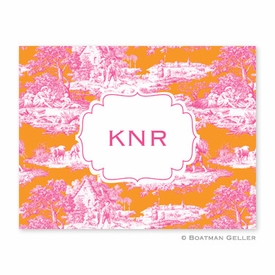 Toile Raspberry & Tangerine Folded Notes (set/25) - click to enlarge