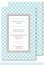 Turquoise Gingham Large Flat Invitation