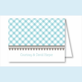 Turquoise Gingham Note Cards - click to enlarge