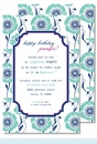 Turquoise/Navy Morning Glory Large Flat Invitation