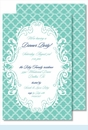 Turquoise Scalloped Large Flat Invitation