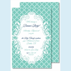 Turquoise Scalloped Large Flat Invitation - click to enlarge