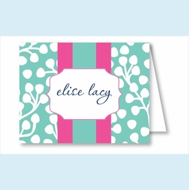 Turquoise Willow w/Hot Pink/Turquoise Stripe Note Cards - click to enlarge
