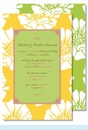 White Poppy on Yellow w/Lime Flood Large Flat Invitation