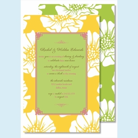 White Poppy on Yellow w/Lime Flood Large Flat Invitation - click to enlarge