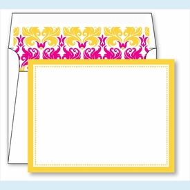 Yellow Border Small Flat Cards w/Coordinating Liner - click to enlarge