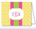Yellow Diamond w/Hot Pink/Lime Stripe Note Cards