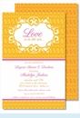 Yellow/Orange Floral Mesh Large Flat Invitation