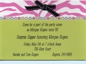 Zebra Pink & Green w/Bow Invitation
