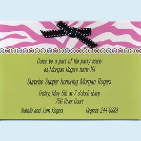 Zebra Pink & Green w/Bow Invitation - click to enlarge