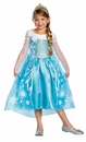 Frozen Elsa Disney Child Deluxe Costume Size 10-12 W/Tiara