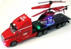 Remote Control (RC) Tractor Trailer Big Rig Car Carrier 18 Wheeler Style W/RC Helicopter