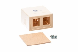 2 Port - Surface Mount Outlet Box - Keystone - Ivory
