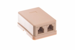 2 Port - Surface Mount Outlet Box - RJ11 - Ivory