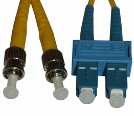 3 Meter ST - SC Single Mode 9/125 Duplex Fiber Optic Jumper Cable