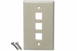 3 Port - Wall Plate - Single Gang - Ivory