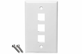 3 Port - Wall Plate - Single Gang - White