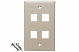 4 Port - Wall Plate - Single Gang - Ivory