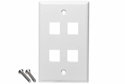 4 Port - Wall Plate - Single Gang - White