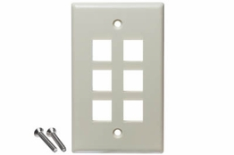 6 Port - Wall Plate - Single Gang - Ivory