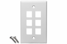 6 Port - Wall Plate - Single Gang - White