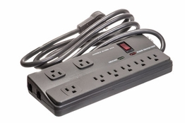 8 Outlet Surge Protector - 3ft Cord with Right Angle Plug - 1,020 Joules