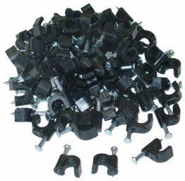 Black Coaxial Cable Clips For RG-6 RG-59 Cable Bag of 100