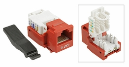 Cat6 Gigabit Toolfree Keystone Jack Modular Network RJ-45 Red