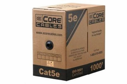 ECore Cables Cat5e UTP Solid PVC Cable - Per FT