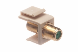 F Type Keystone Coupler - Female/Female - Ivory