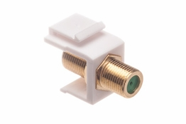 F Type Keystone Coupler - Female/Female - White