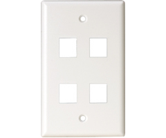 Four outlet Quad hole Keystone Wall Plate audio video smooth finish