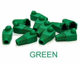 Green Snagless strain relief Boots for RJ45 Networking Ethernet plugs