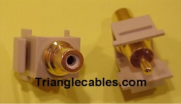 Keystone Modular Insert RCA Type Connector Female to Male color Ivory