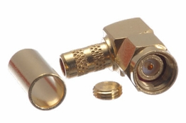 Reverse Polarity SMA Male Right Angle Connector - RG58, RG141 & LMR-195