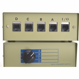 RJ45 Four Way ABCD Ethernet Network Data Manual Switch Box Cat5e ports