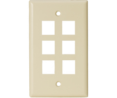 Six outlet Six hole Keystone Wall Plate audio video smooth finish