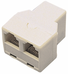 Telephone Line 2 Way Duplex Adapter 3 Females Splitter 6P4C