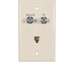 Telephone-TV-Satellite Diplexer Phone Combo Wall Plate