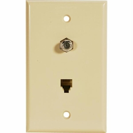 Telephone TV Satellite Telephone Flush Mount Wall Plate Ivory