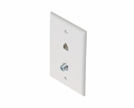 Telephone TV Satellite Telephone Flush Mount Wall Plate White