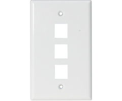 Three outlet Triple hole Keystone Wall Plate audio video smooth finish