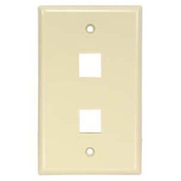 Two outlet Dual hole Keystone Wall Plate audio video smooth finish