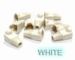 White Snagless strain relief Boots for RJ45 Networking Ethernet plugs