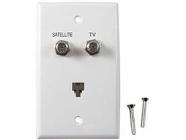 White Telephone TV Satellite Diplexer Phone Combo Wall Plate