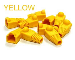 Yellow Snagless strain relief Boots for RJ-45 Network Ethernet plugs